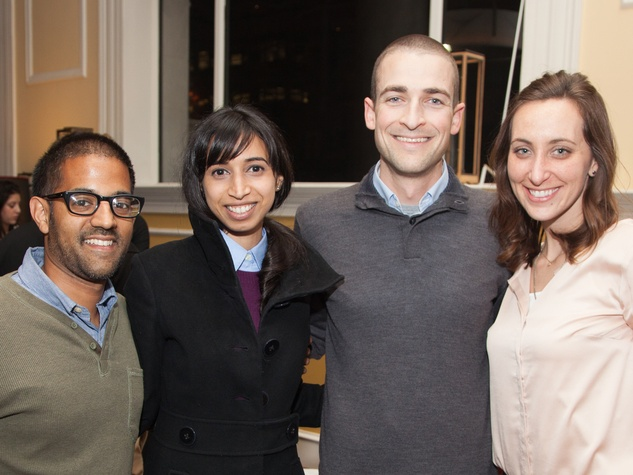 13 Vikas Sathanis, from left, Asha Gandhi, Dave Morris and Laura Menges at the Preservation Houston Pier & Beam event February 2014