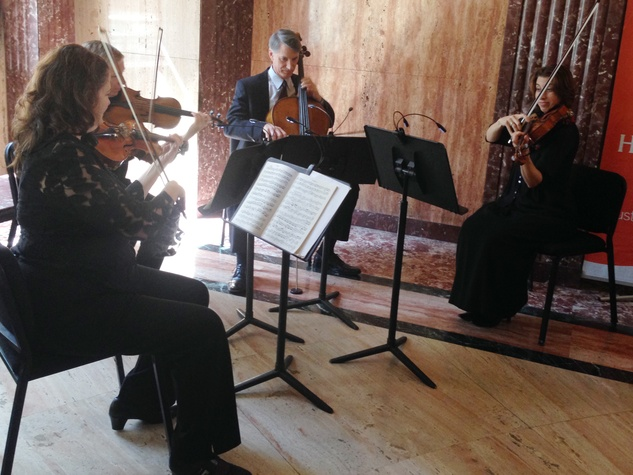 Houston Symphony quartet play after announcement that the Leipzig Gewandhaus Orchestra will play in Houston