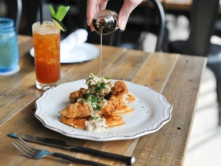 Jacoby's Resaurant & Mercantile_chicken fired steak with waffles_2015