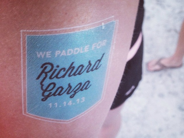 We paddle for Richard Garza tattoo at Tyler's Dam that Cancer after party