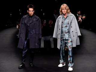 Derek Zoolander (Ben Stiller) and Hansel (Owen Wilson) walk the runway at the Valentino Fashion Show during Paris Fashion Week