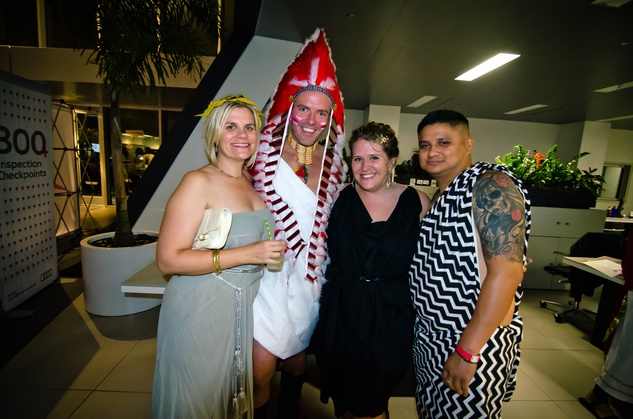 11 Liz Gorman Jones, from left, Paul Pettie, Sara Brown and Moses Martinez at the Bering Omega Toga Party July 2014