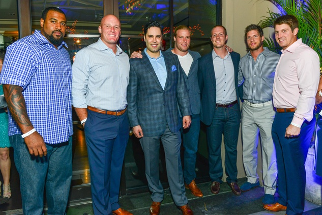 17 Texans with Gabe Carales at the Blue Cure Foundation benefit party at Hotel ZaZa June 2014