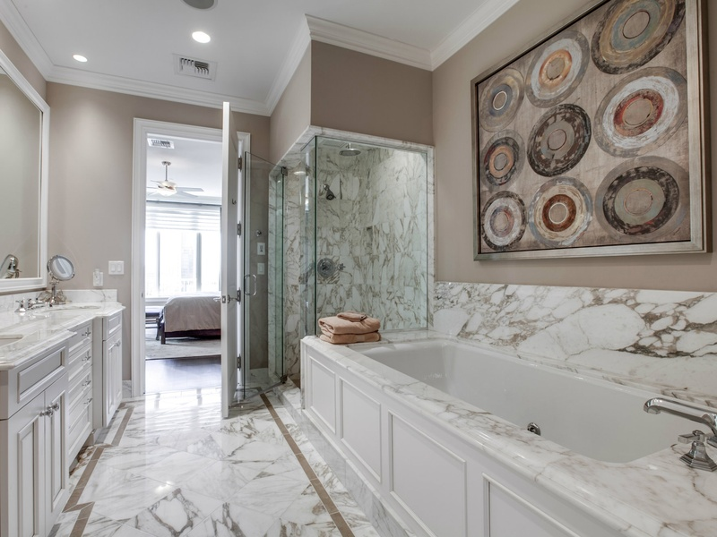 Bathroom at Ritz Carlton  702 in Dallas. Slideshow  Live the high life in Uptown Dallas for  10 000 a month