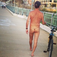 Thong Cyclist Naked Bike Rider