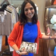 Kate Falchi with graffiti clutch at Elizabeth Anthony