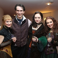Alley Theatre's Sherlock Holmes dinner June 2013 Emily Neves, Todd Waite, Melissa Pritchett, Laurel Schroeder
