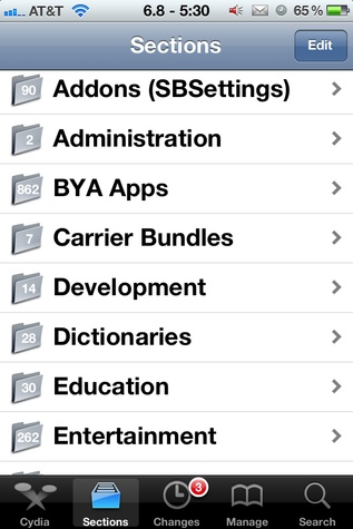 Cydia sections