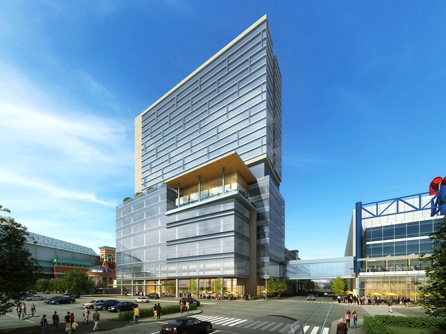 Greater Houston Partnership Building rendering with boutique hotel on top August 2014