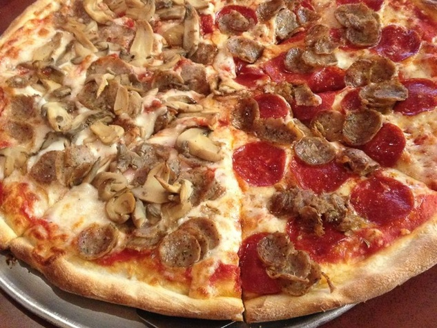 Romano's Pizza Houston pepperoni pizza and mushroom pizza
