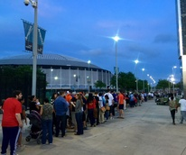 Astrodome public tour 50th anniversary party April 2015 Even as the sun set, lines continued to grow around NRG Park.