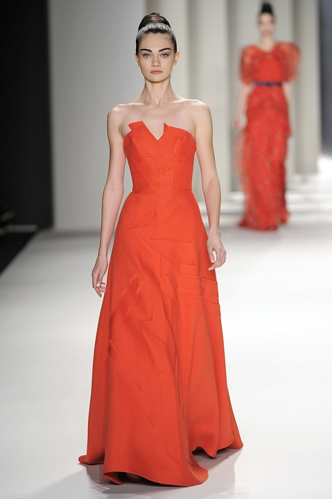 Carolina Herrera red evening gown fall 2014 collection