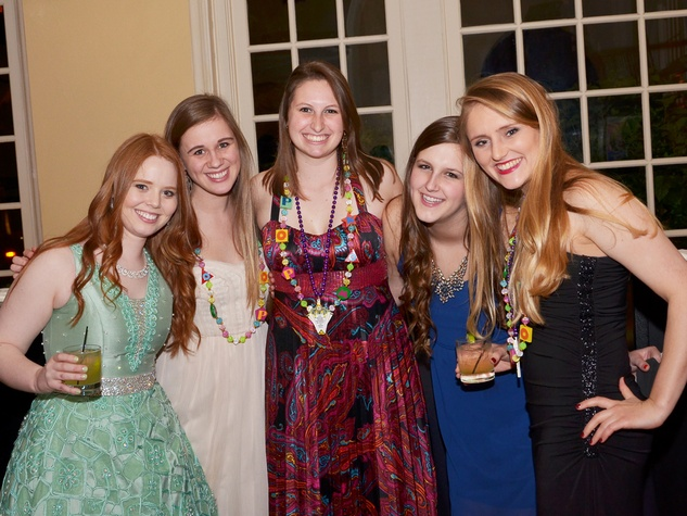 Emily Flynn, from left, Elizabeth Spence, Elizabeth Edel Aigner and Lauren Coubillon at the Knights of Momus Coronation Ball February 2014