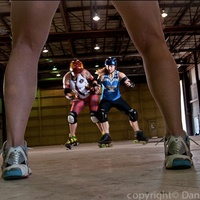 Texas rollergirls behind the scene legs