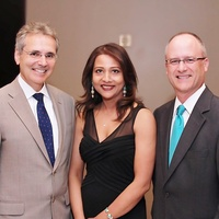 1 Dr. Ronald DePinho, from left, Runsi Sen and Rob Heifner at the Ovarcome Gala May 2014