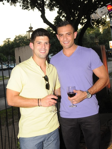 Mark Arnold, left, and Brad Madrid at the Q The Salon Moroccan theme party September 2013