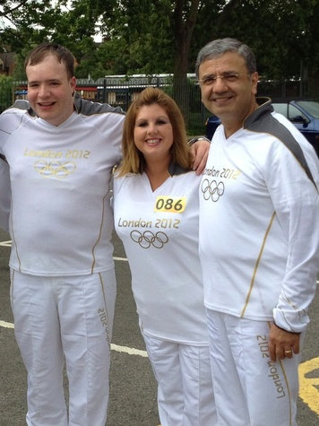 Dr. William Zoghbi, Olympic torch, July 2012, Simon Cruder, Carly Castle, and William Zoghbi