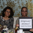 127 Salma Manji, left, and Vijay Bhuchar at the Chloe Dao luncheon for Pratham December 2014