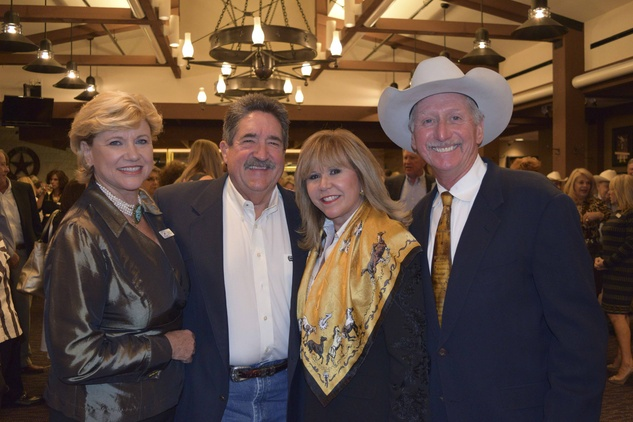 14 Susan Buddeke, from left, Ken McGuyer and  Cyndy Garza Roberts and Thomas Roberts at the Houston Livestock Show and Rodeo Trailblazer honoree reception October 2014
