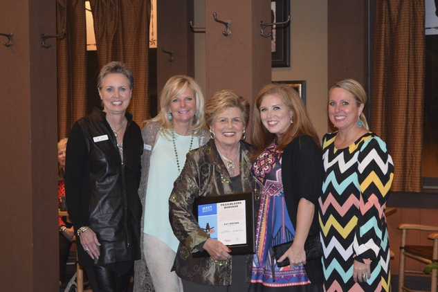 12 Sharleen Walkoviak, from left, Gretchen Gilliam, Kay Stevens, Courtney Taylor and Elizabeth Becker at the Houston Livestock Show and Rodeo Trailblazer honoree reception October 2014