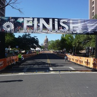 MS 150 bike race finish line in Austin with capitol in background