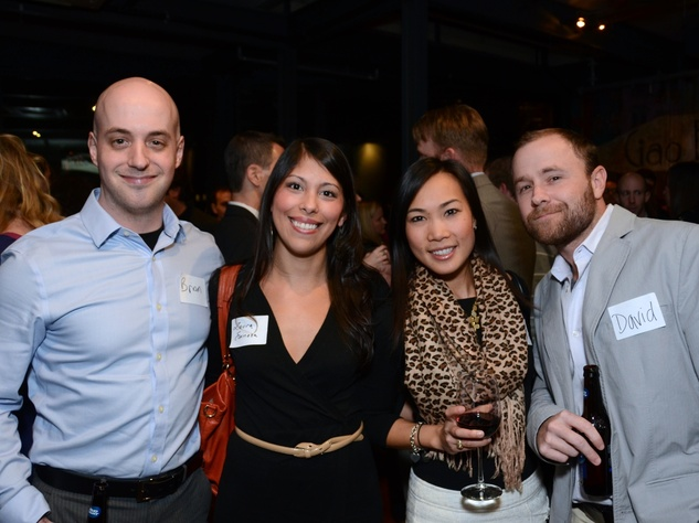 8 Brian Carrier, from left, Laura Espinoza, Diana Dao and David Dice at the Holocaust Museum Houston's Next Generation Young Professionals kickoff party November 2013