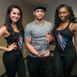 15 Jakaline Rios, from left, Stephan Talton and Brittany Agbor at the Crafted mixology contest at Mr. Peeples July 2014