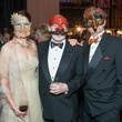 26 Mimi Hassenboehler, from left, C.C. Conner and David Groover Masks at the Houston Ballet Ball February 2015