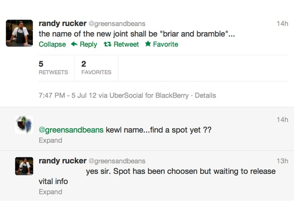 Randy Rucker, Tweet, new restaurant