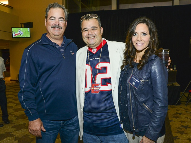 "19 Cal McNair, from left, George ""Texan Elvis"" Lazaneo and Hannah McNair at Taste of the Texans November 2013"