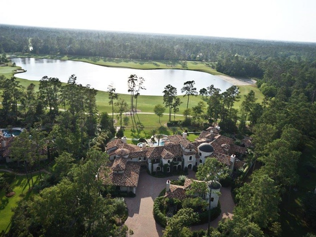 On the Market 15 Grand Regency Circle Enron mansion The Woodlands January 2015 back aerial