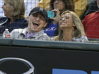 Johnny Manziel Colleen Crowley Rangers game April 2015