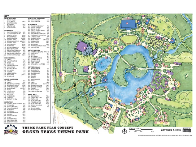 Grand Texas theme park plan concept map with Greezed Lightnin' planned for area R-27