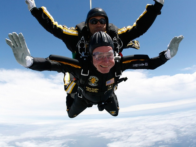 George H.W. Bush skydive 85th birthday