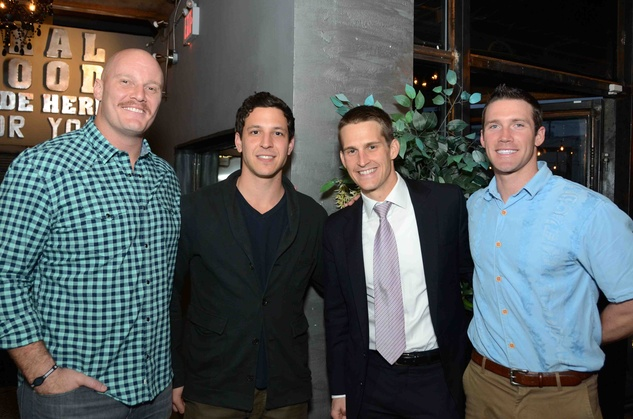 "Chris Myers, from left, Craig Steinfeld, Anthony ""A.J."" Gracely and Ethan Etzel at Blue Cure Young Professionals February 2014"