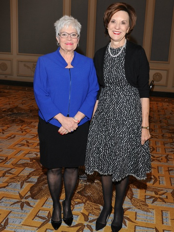 Carolyn Miller, Kathy Helm, luncheon co-chairs at Senior Source