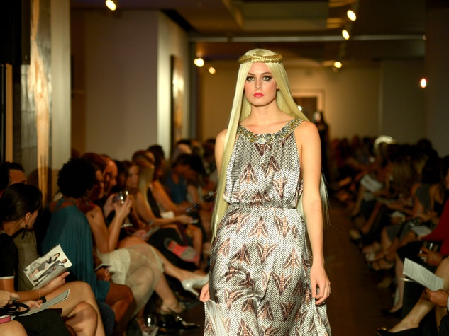 David Peck fashion show October 2014 moth print