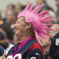 Texans vs. Cowboys Oct. 5, 2014 fans with pink spiked hair