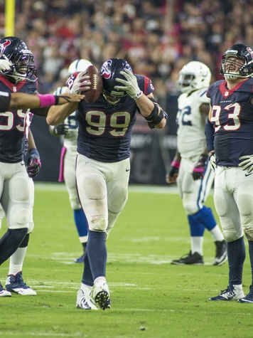 15 Texans vs. Colts October 2014 first half JJ WAtt holding head and ball