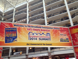 banner in Renaissance hotel for Broadband Communities summit 2014