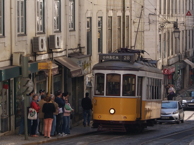 Bill Van Rysdam  Lisbon March 2105 Tram 28 adds to the charm of Lisbon while carrying passengers through its winding streets