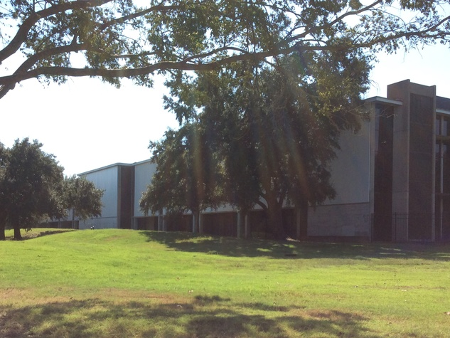 The 192-acre Texas Instruments site has low rise campus style buildings and lots of vacant land. October 2014
