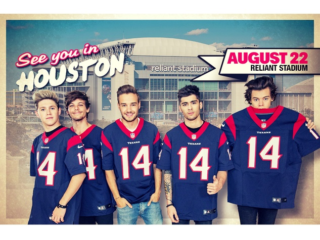One Direction Announces Stadium Tour musicians wearing Texans shirts with Reliant Stadium in background November 2013