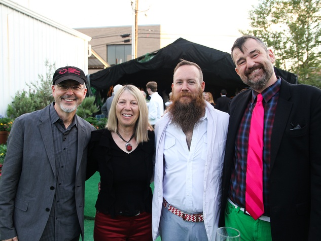 Bill Viola, from left, Kira Pirov, Mark McCray and Bill Arning at the Bill Viola Aurora Picture Show Award party October 2013