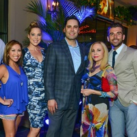 5 Chris Myers, from left, Lily Jang, Jenny Myers, Gabe Canales, Carolyn Farb and Mike Chabala at the Blue Cure Foundation benefit party at Hotel ZaZa June 2014