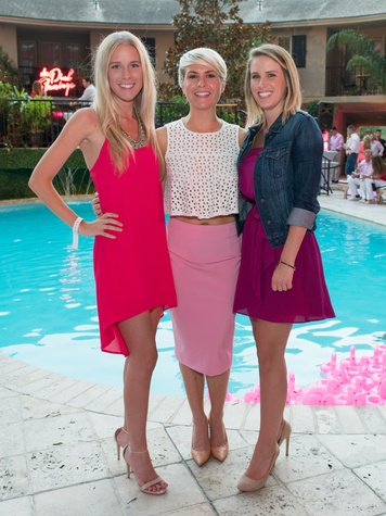 6 Mallory Zimmerman, from left, Kelsie Dos Santos and Chloe Smailes at the Pink Party at Hotel ZaZa July 2014
