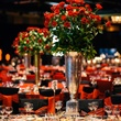 Floral arrangements and table setting at the Memorial Hermann Gala April 2014