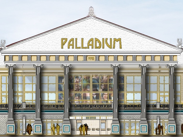 Front Elevation Definition Theatre : Santikos theatres plans state of the art greek themed