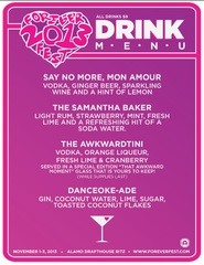 drink menu of cocktails available at Forever Fest