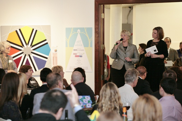 Mayor Annise Parker welcome guests and discusses the impact of the funding garnered from Art on the Avenue